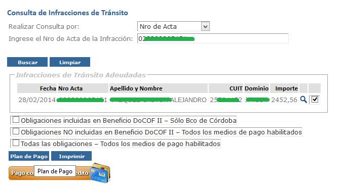 Plan de pago de multa de transito de Policia Caminera de Cordoba - 1