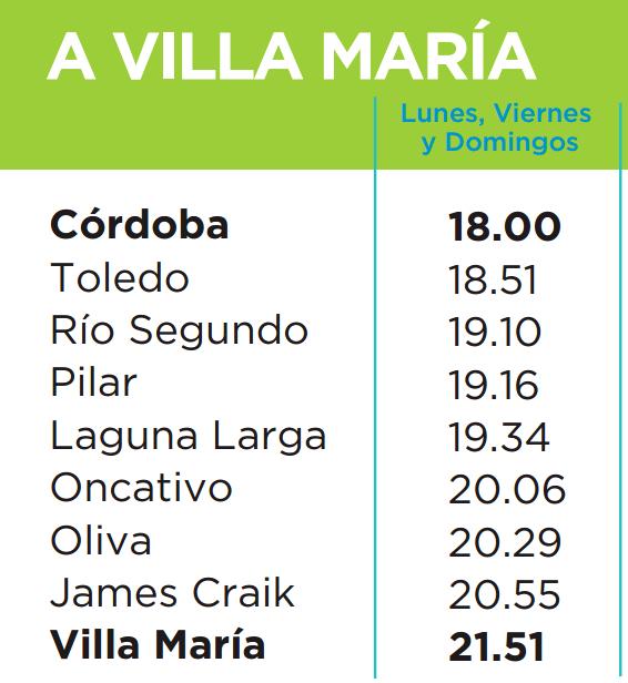 Horarios del tren Cordoba - Villa Maria (2015)
