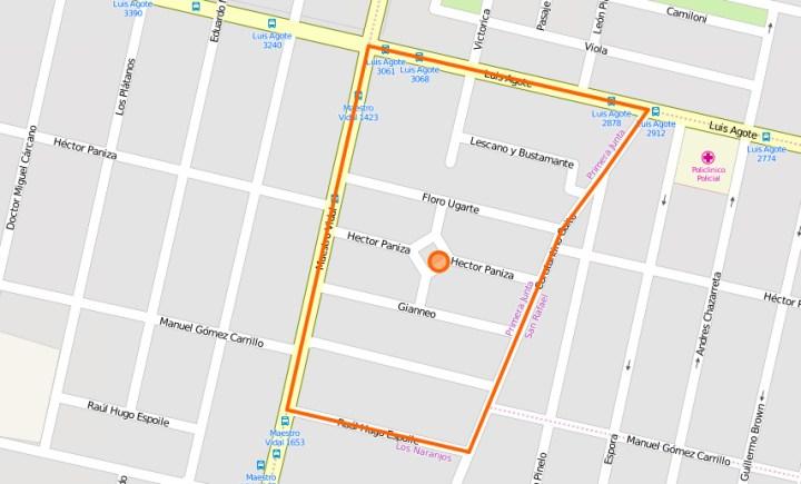 "Barrio ""Primera Junta"" (Captura web Open Street Map)"