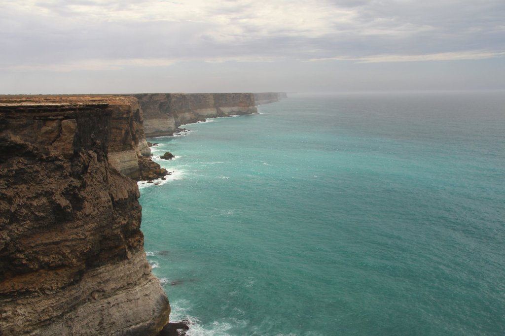 Where desert meets ocean.  The Great Australian Bight stretches off into the distance.