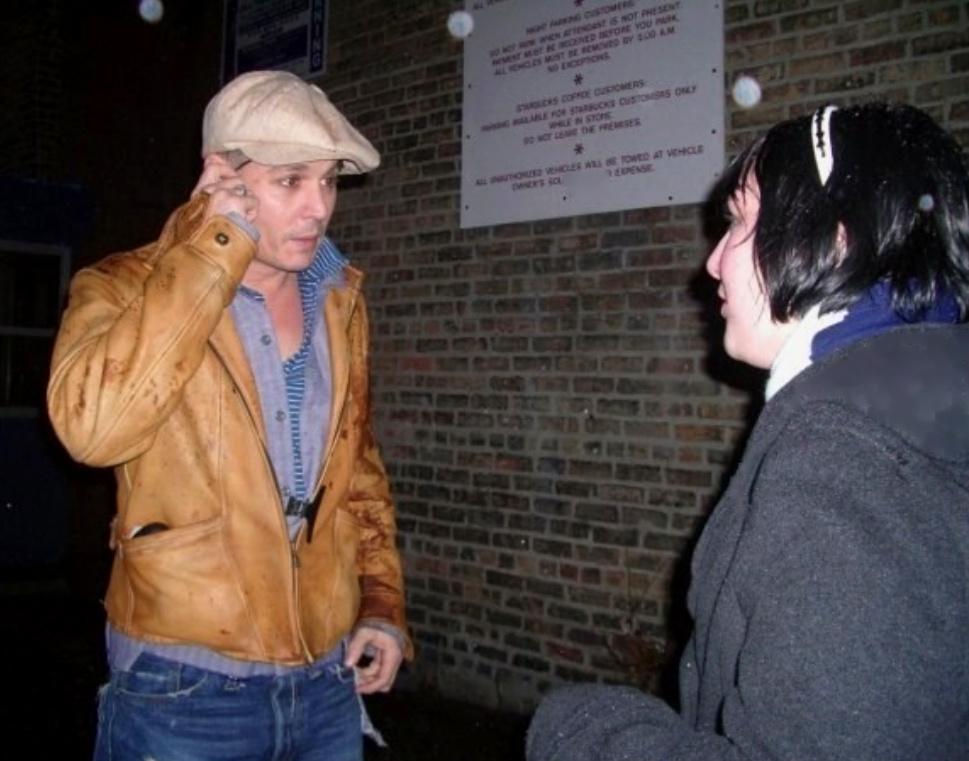 Trashwire's MySpace friend Anne Rakowiecki talks to Johnny Depp on the set of Public Enemies in Chicago