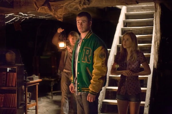 Marty (Fran Kranz, left), Curt (Chris Hemsworth, center) and Jules (Anna Hutchison, right) in THE CABIN IN THE WOODS. Photo credit: Diyah Pera