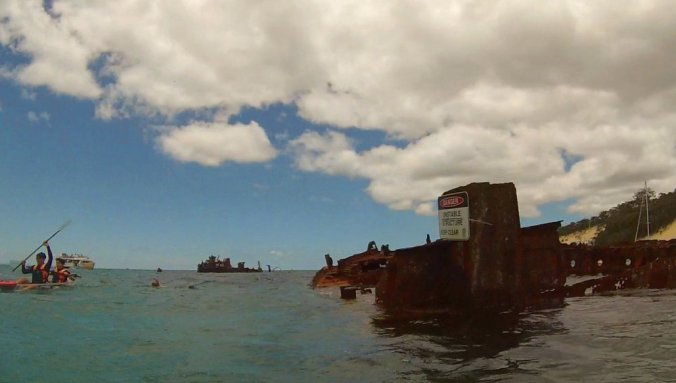 The Tangalooma Shipwrecks off the coast of Moreton Island