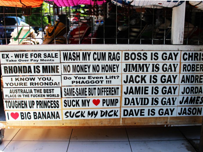 Offensive stickers  - Kuta Beach, Bali, Indonesia