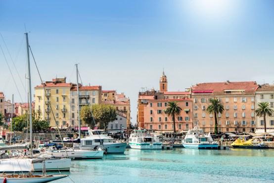 Ajaccio, Corsica, France - September, 13, 2016: Ajaccio port cityscape with moored yachts and pleasure boats , Corsica island, France