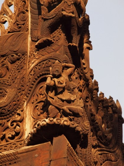 Details from the wood carving at Shwenandaw Monastery 