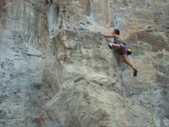 Sapphira rock climbing at Railay Bay