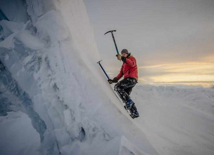 Alasdair on the pressure ridges
