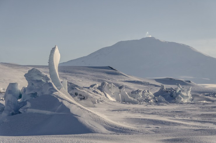 Pressure ridges in front of Mount Erebus