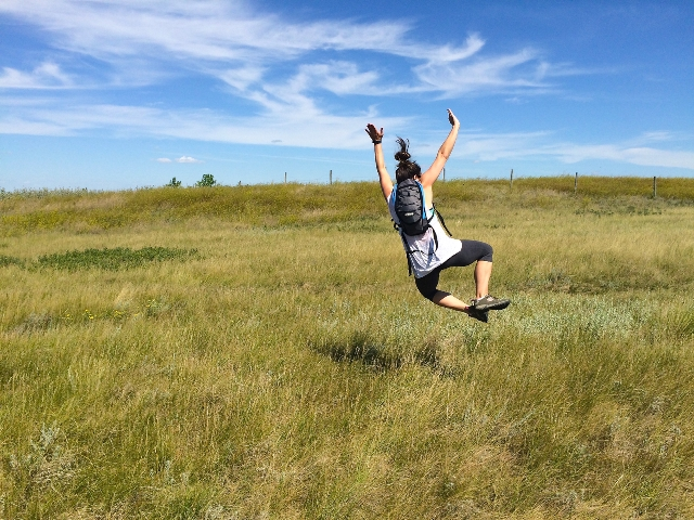 Jenns happy jump at Wascana Trails