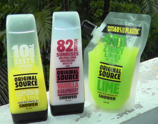 Original Source shower gels left to right: Lemon and Tea Tree, Vanilla and Raspberry, and Lime