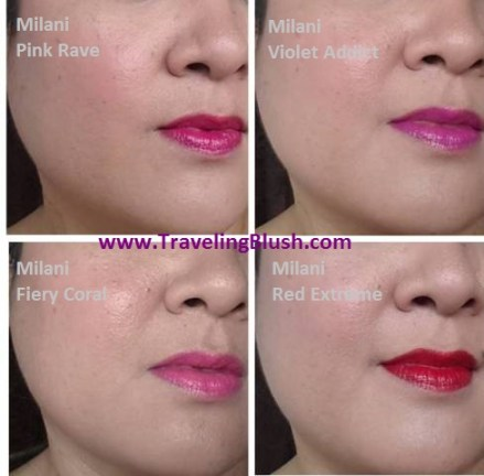 Milani Lip Intense Pink Rave, Fiery Coral, Violet Addict, Red Extreme (with Milani Bella Rosa baked blush)