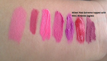 Here, Red Extreme is topped with MAC Viva Glam Rihanna Lipglass