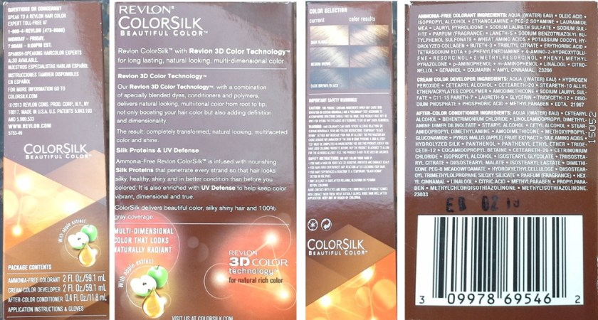 Packaging and Ingredients List - Revlon ColorSilk Medium Golden Chestnut Brown