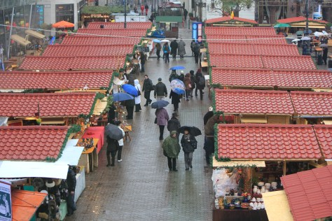 Rainy Christmas Market; Budapest, Hungary; 2011