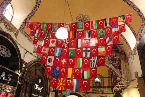 International Flags Surrounding Turkish Flags; Istanbul, Turkey; 2013