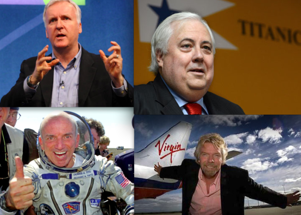 Billionaires clockwise from upper left: Movie maker James Cameron, mining tycoon Clive Palmer, space adventurer Dennis Tito, and Virgin Galactic founder Richard Branson.