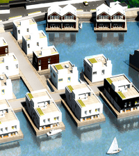 Computer rendering of floating homes in Stockholm.