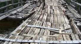 Bridge With Boards Missing Or Rotten 3