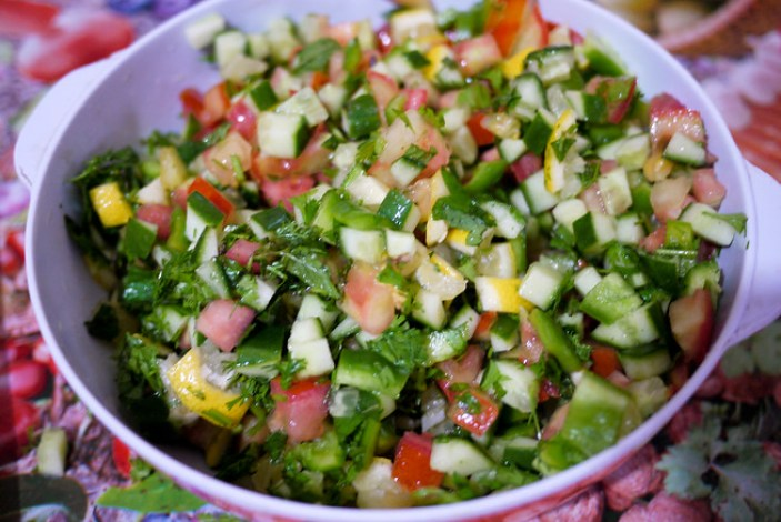 A bowl of diced veggies make a yummy Farmer's Salad in Jordan
