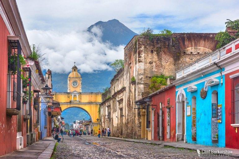 Antigua, Guatemala The beautiful streets of Antigua, with a backdrop of Volcano Agua