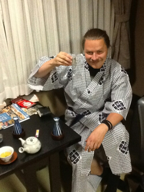 Drinking sake in a ryokan on my first Japan trip