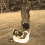 Vintage-Xena-Under-Tree-Reading-Book-Sepia