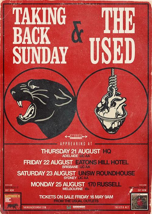 Taking Back Sunday The Used Announce Australian Tour Dates Taking Back Sunday, The Used Announce Australian Tour Dates