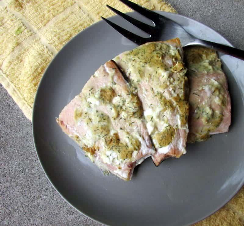 Dijon Dill Baked Salmon via Treble in the Kitchen