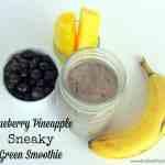 Blueberry Pineapple Sneaky Green Smoothie via Treble in the Kitchen