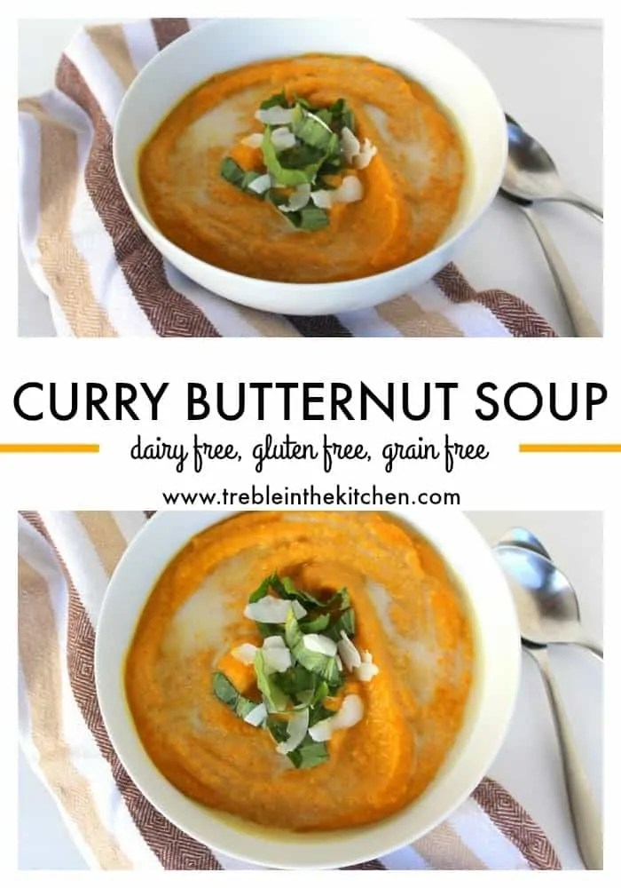 Curry Butternut Soup from Treble in the Kitchen paleo friendly, vegan, vegetarian, gluten free, grain free, dairy free