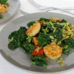 Pesto Tomato Kale and Shrimp Skillet from Treble in the Kitchen