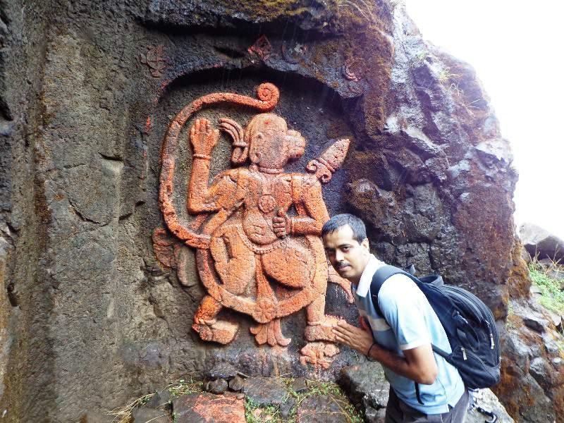 fort Visapur - Hanuman carvings at the entrance