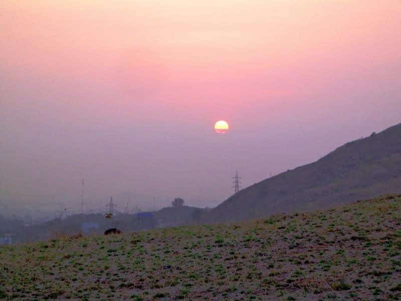 sunrise as seen on the way to Birla ganesh temple