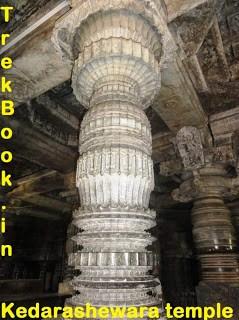 Turned pillars at Kedareshwara temple - Halebidu