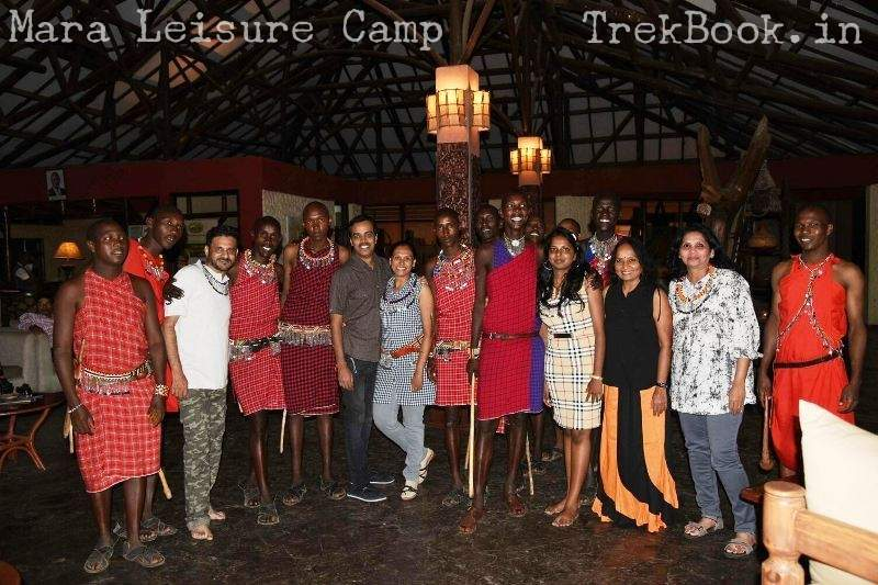 group photo with masai people