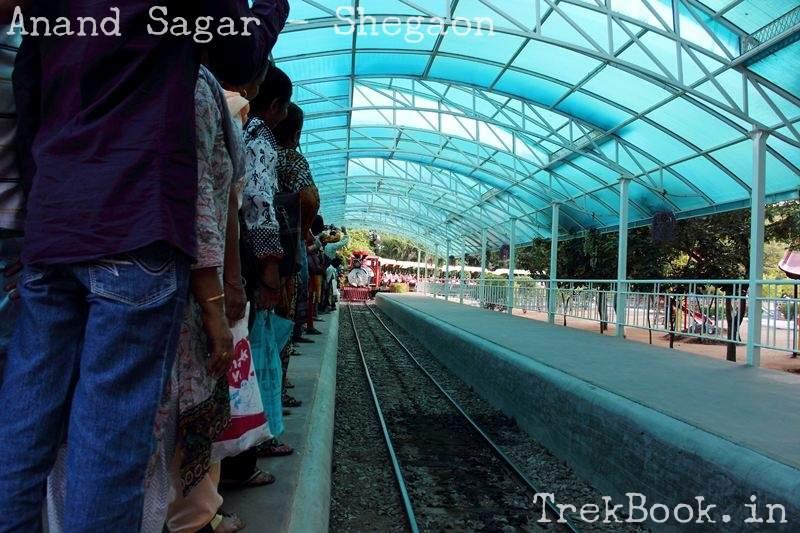mini railway train station at anand sagar