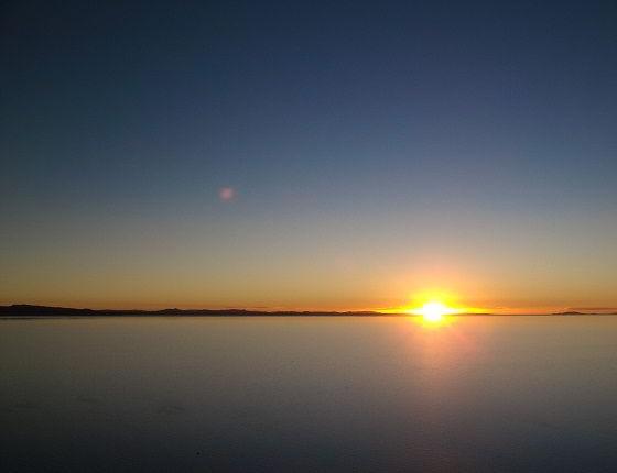 fim de dia no lago mais alto do mundo