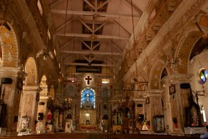 The painted interiors of the Santa Cruz Basilica