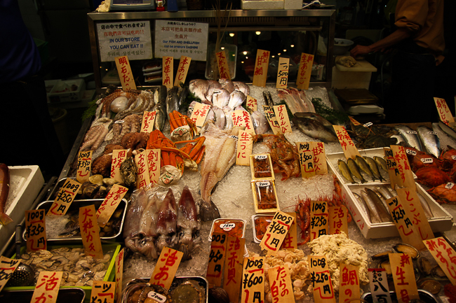 Nishiki market is a sea food lovers paradise for the sheer variety of sea food on sale
