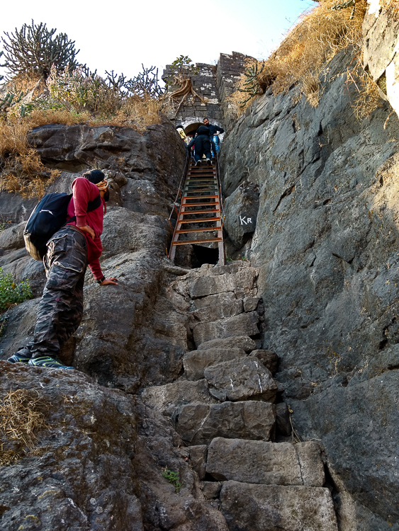 A ladder marks the end of the trek and entrance into the fort