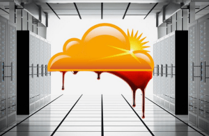 Image of computer services with a cloud that is bleeding.