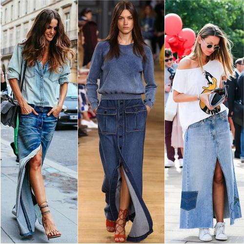 Длинная джинсовая юбка с вырезом или на пуговицах