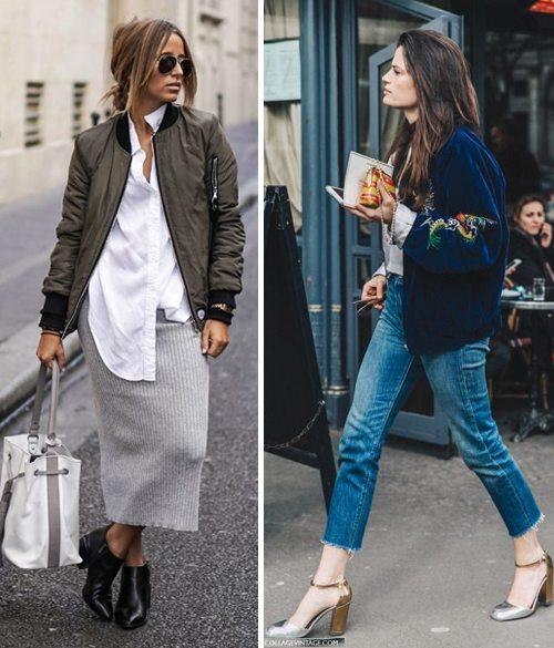 Куртки-бомбер женские в сочетании с юбкой или джинсами
