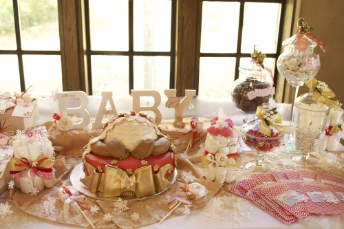Elegant  Wynter Rose Baby Shower sweet table