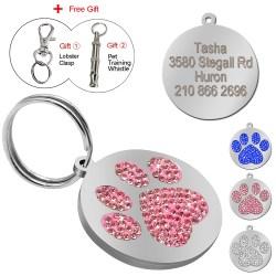 Decent Dog Cat Pet Collar Accessories Free Gift Glitter Paw Pet Id Tags Custom Personalized Engraved Name Phone Glitter Paw Pet Id Tags Custom Personalized Engraved Name Phone Numbertag
