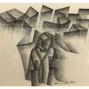 Simcock, Jack (1929-2012) 1962 Abstract Pencil Drawing #1