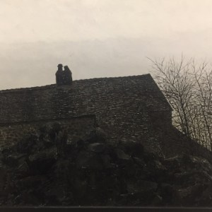 Simcock, Jack (1929-2012) Rockside Cottage, Mow Cop with Figure