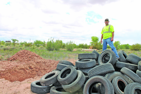 Photo by Talaina Fisher City of Holbrook Interim City Manager readies this year's Mud Run, which will be complete with mud pits and obstacles courses. There will also be a supervised area for little kids to play in. The Mud Run will begin at 8 a.m. on Saturday, Sept. 10.