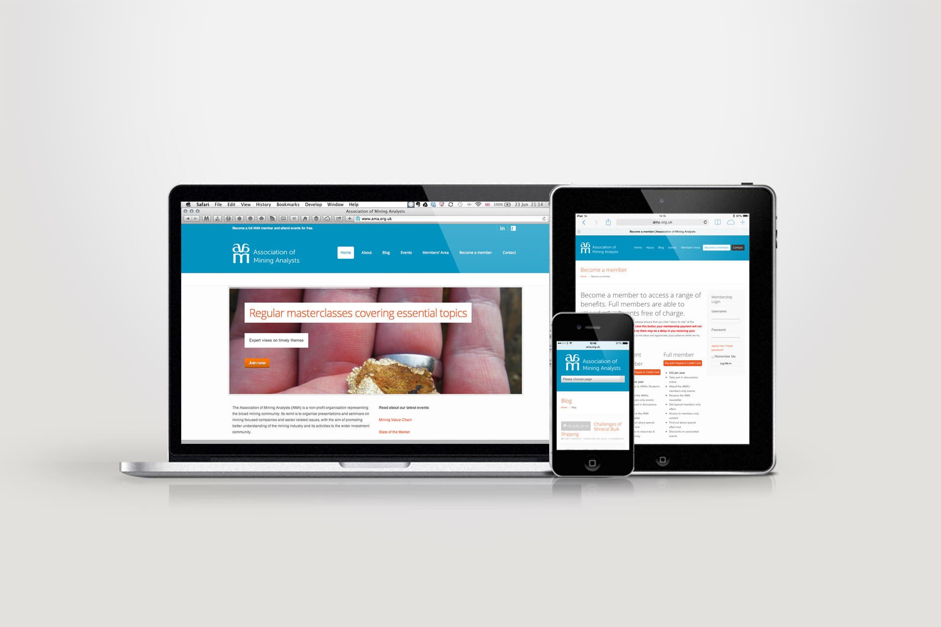 The responsive website design for the AMA displayed on multiple devices | Tribus Creative - web design for small business